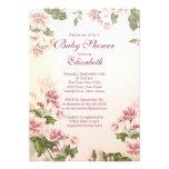 Elegant Vintage Pink Blossom Floral Baby Shower Invitation