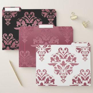 Elegant Vintage Pink Floral Damask Folder Set