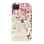 Elegant Vintage Pink Floral Pattern iPhone 4/4S Cover