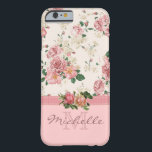 """Elegant Vintage Pink Floral Rose Monogram Name Barely There iPhone 6 Case<br><div class=""""desc"""">This case features an elegant vintage floral pink rose pattern on the top, a mauve ribbon, two beautiful roses placed on the ribbon, and a rose color bottom. There you can customize the monogram and the name. Eliminate an element to just have a monogram or just a name, it&#39;s up...</div>"""