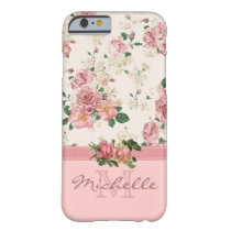 Elegant Vintage Pink Floral Rose Monogram Name Barely There iPhone 6 Case