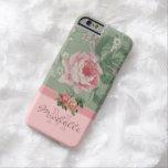 Elegant Vintage Pink Floral Rose Monogram Name Barely There iPhone 6 Case