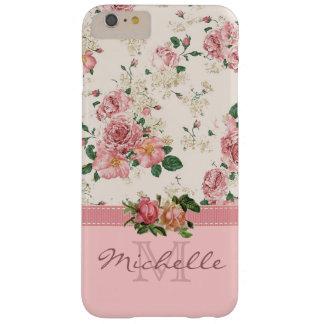 Elegant Vintage Pink Floral Rose Monogram Name Barely There iPhone 6 Plus Case