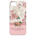 Elegant Vintage Pink Floral Rose Monogram Name iPhone 5 Cover