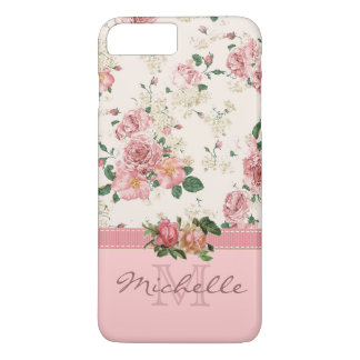 Elegant Vintage Pink Floral Rose Monogram Name iPhone 7 Plus Case