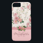 "Elegant Vintage Pink Floral Rose Monogram Name iPhone 8/7 Case<br><div class=""desc"">This case features an elegant vintage floral pink rose pattern on the top, a mauve ribbon, two beautiful roses placed on the ribbon, and a rose color bottom. There you can customize the monogram and the name. Eliminate an element to just have a monogram or just a name, it&amp;#39;s up...</div>"