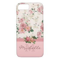 Elegant Vintage Pink Floral Rose Monogram Name iPhone 8/7 Case