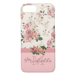Elegant Vintage Pink Floral Rose Monogram Name iPhone 8/7 Case