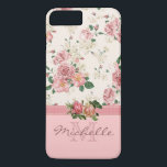 "Elegant Vintage Pink Floral Rose Monogram Name iPhone 8 Plus/7 Plus Case<br><div class=""desc"">This case features an elegant vintage floral pink rose pattern on the top, a mauve ribbon, two beautiful roses placed on the ribbon, and a rose color bottom. There you can customize the monogram and the name. Eliminate an element to just have a monogram or just a name, it&amp;#39;s up...</div>"