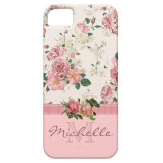 Elegant Vintage Pink Floral Rose Monogram Name iPhone SE/5/5s Case
