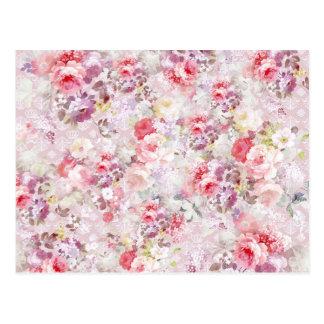 Elegant vintage pink flowers royal damask pattern postcard