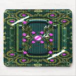 Elegant vintage pink green monogram mousepad
