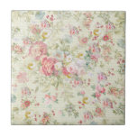 """Elegant vintage pink pastel floral pattern tile<br><div class=""""desc"""">A elegant vintage girly pink, red and green cute pastel roses floral pattern . A unique chic floral design pattern on vintage stripes background. Get this stylish trendy flowers design pattern for her the or anyone on any occasion the perfect romantic gift idea for her on any occasion.</div>"""