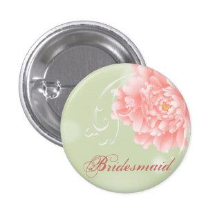 elegant vintage pink Peonies floral bridesmaid Button