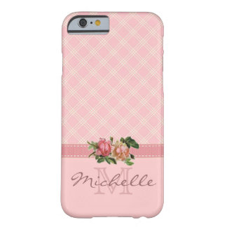 Elegant Vintage Pink Plaid & Floral Monogram Name Barely There iPhone 6 Case