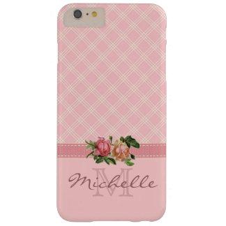 Elegant Vintage Pink Plaid & Floral Monogram Name Barely There iPhone 6 Plus Case