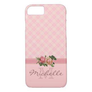 Elegant Vintage Pink Plaid & Floral Monogram Name iPhone 8/7 Case
