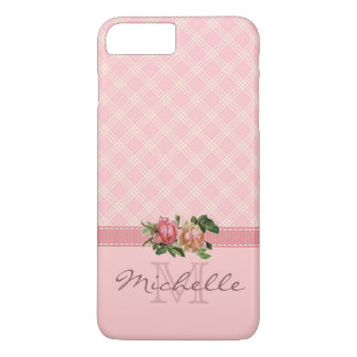 Elegant Vintage Pink Plaid & Floral Monogram Name iPhone 8 Plus/7 Plus Case