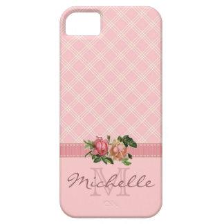 Elegant Vintage Pink Plaid & Floral Monogram Name iPhone SE/5/5s Case