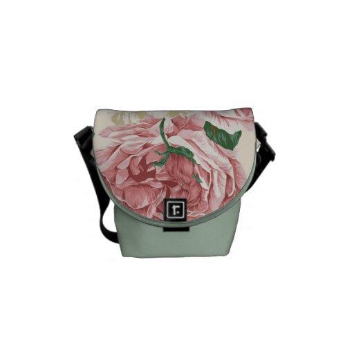 Elegant Vintage Pink Rose Pattern Courier Bags