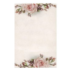 Elegant Vintage Pink Rose Stationery at Zazzle