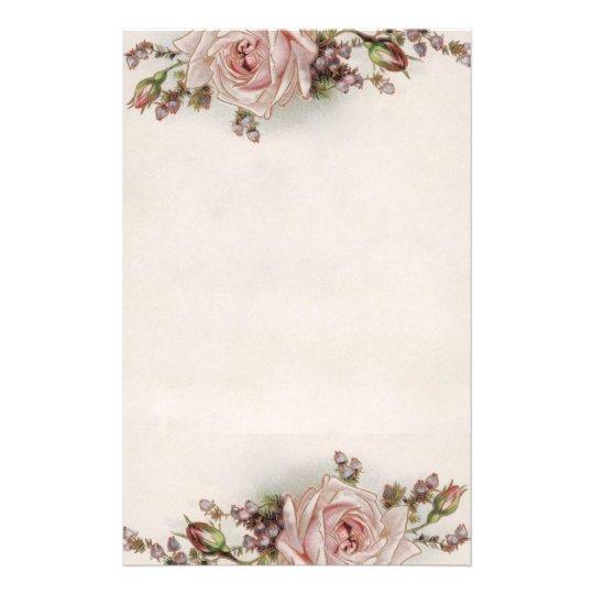 Elegant Vintage Pink Rose Stationery