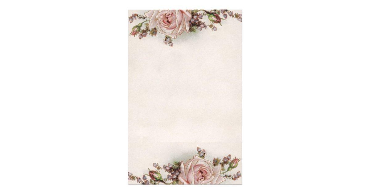 Elegant Vintage Pink Rose Stationery | Zazzle.com