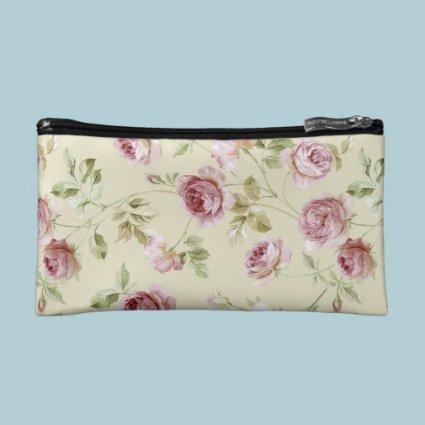 Elegant Vintage Pink Roses Makeup Bag