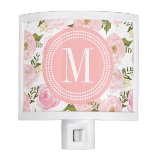 Elegant Vintage Pink Roses Personalized Night Light