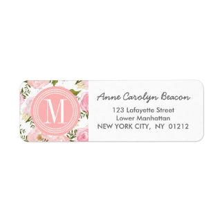Elegant Vintage Pink Roses Personalized Label