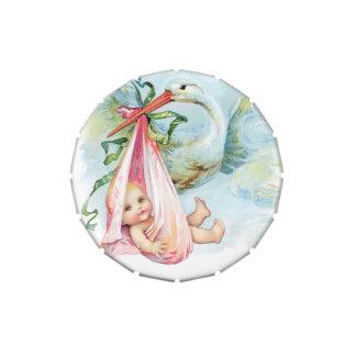 Elegant Vintage Pink Stork Baby Shower Mints Jelly Belly Candy Tins