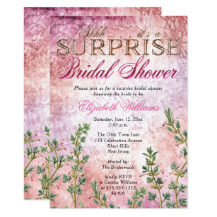 elegant vintage pink surprise bridal shower invitation