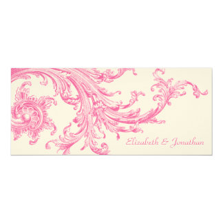Elegant Vintage Pink Sweep Wedding Invitation