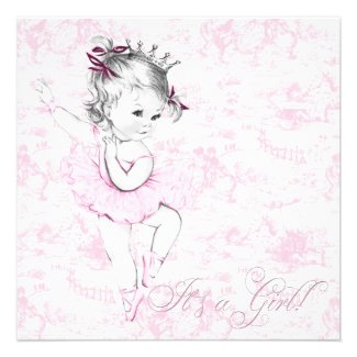 Elegant Vintage Pink Toile Baby Shower Personalized Announcements