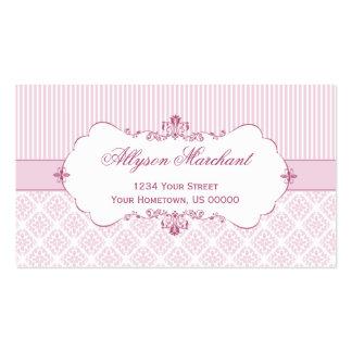 Elegant Vintage Pink White Damask Stripes Business Card Template