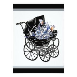 """Elegant Vintage Pram Baby Shower 5.5"""" X 7.5"""" Invitation Card"""