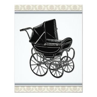 Elegant Vintage Pram Beige Damask Baby Shower Card