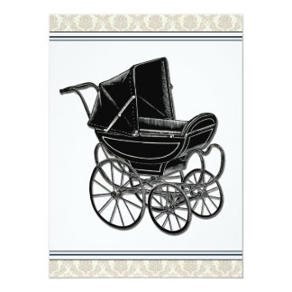 Elegant Vintage Pram Beige Damask Baby Shower Card