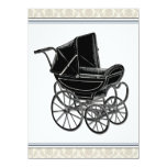 Elegant Vintage Pram Beige Damask Baby Shower 5.5x7.5 Paper Invitation Card