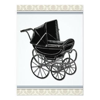 """Elegant Vintage Pram Beige Damask Baby Shower 5.5"""" X 7.5"""" Invitation Card"""