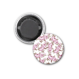 Elegant Vintage Purple Floral Pattern 1 Inch Round Magnet