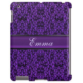 Elegant Vintage Purple Lace Personalized iPad Case