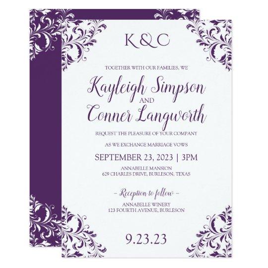 Elegant Wedding Invitation Design: Elegant Vintage Purple (Plum) Wedding Invitations