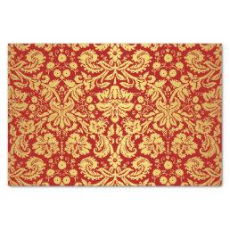 Elegant Vintage Red and Gold Royal Damask Pattern Tissue Paper