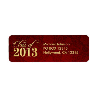 Elegant Vintage Red damask and Gold Class of 2013 Label