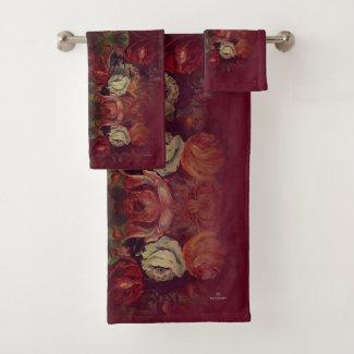 Elegant Vintage Red Floral Bath Towel Set