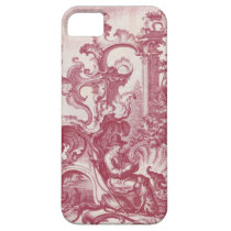 Elegant Vintage Red French Toile Man and Dog iPhone SE/5/5s Case