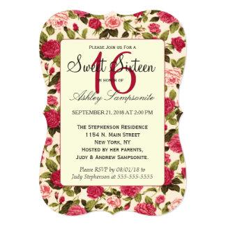 Elegant Vintage Red & Pink Rose Floral Pattern Card