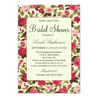 Elegant Vintage Red & Pink Rose Floral Pattern 3.5x5 Paper Invitation Card