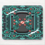 Elegant vintage red turquoise monogram mouse pad